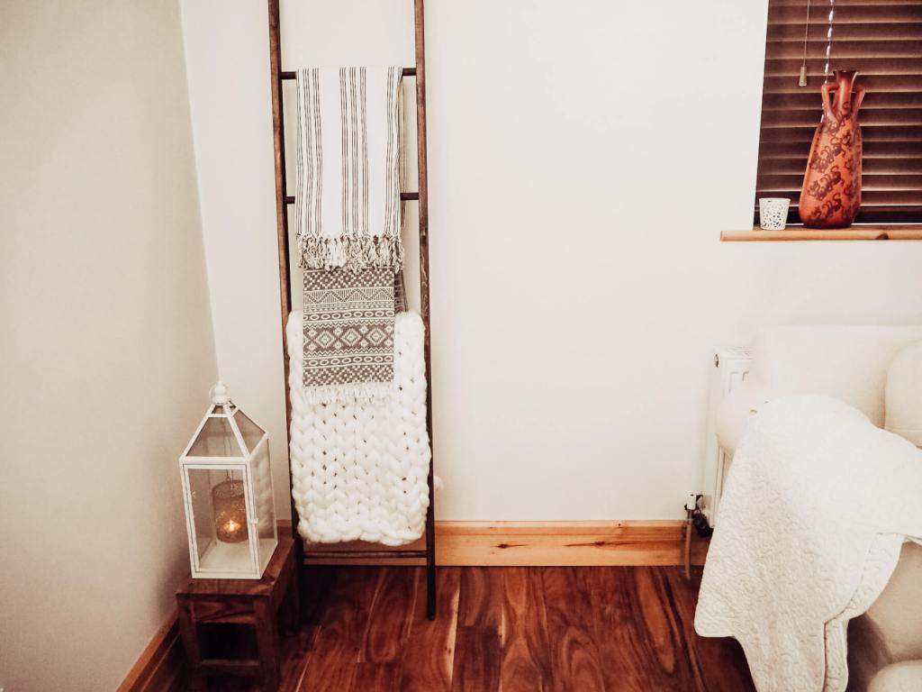 Blanket ladder to add a farmhouse feel.