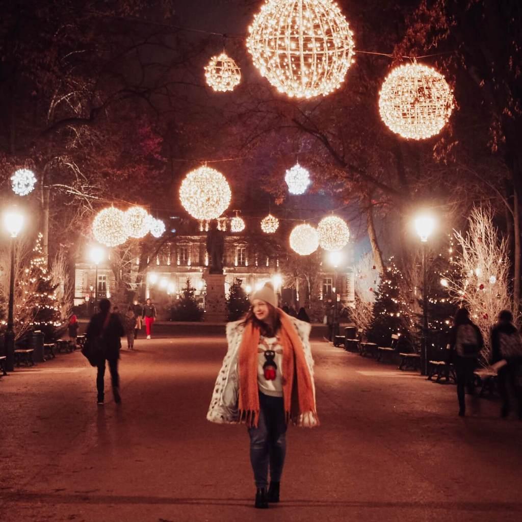 Colmar lit up at night at Christmas.