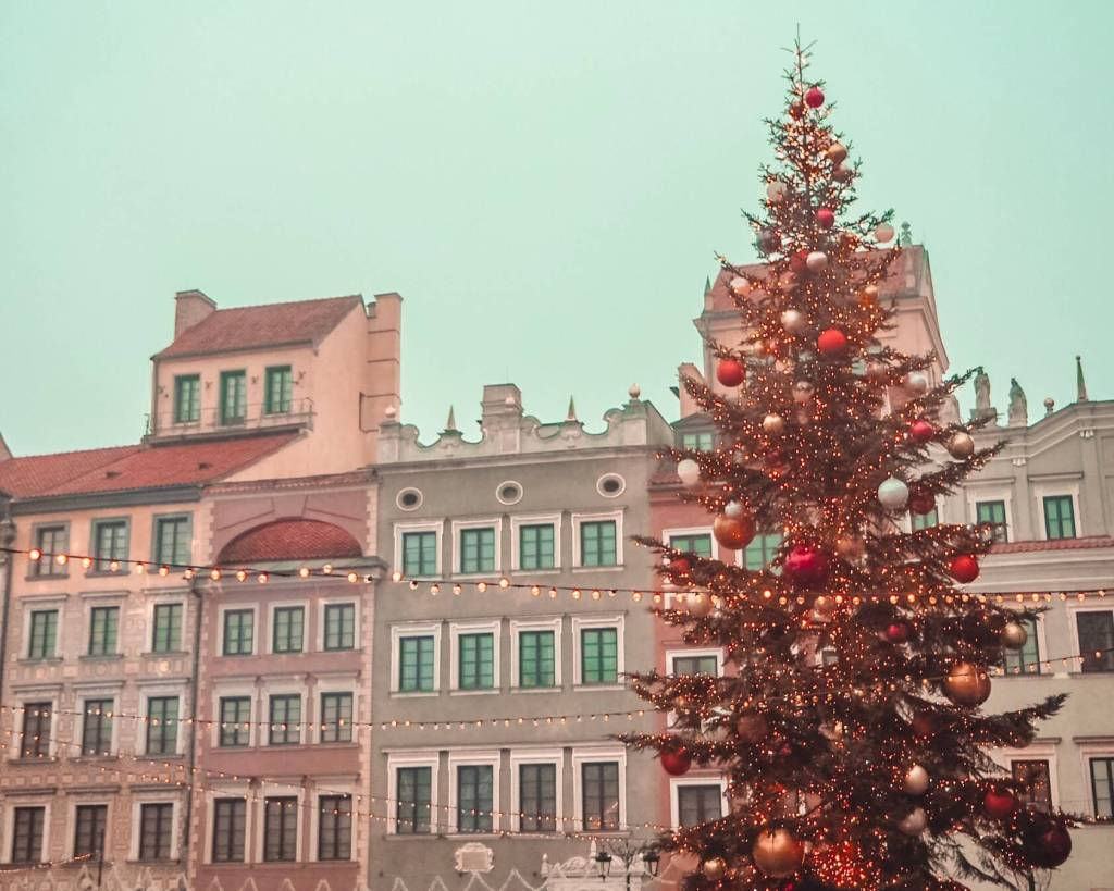 Christmas tree lit up in Warsaw Old Town Square