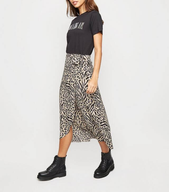 Cream Animal Print Wrap Midi Skirt from New Look