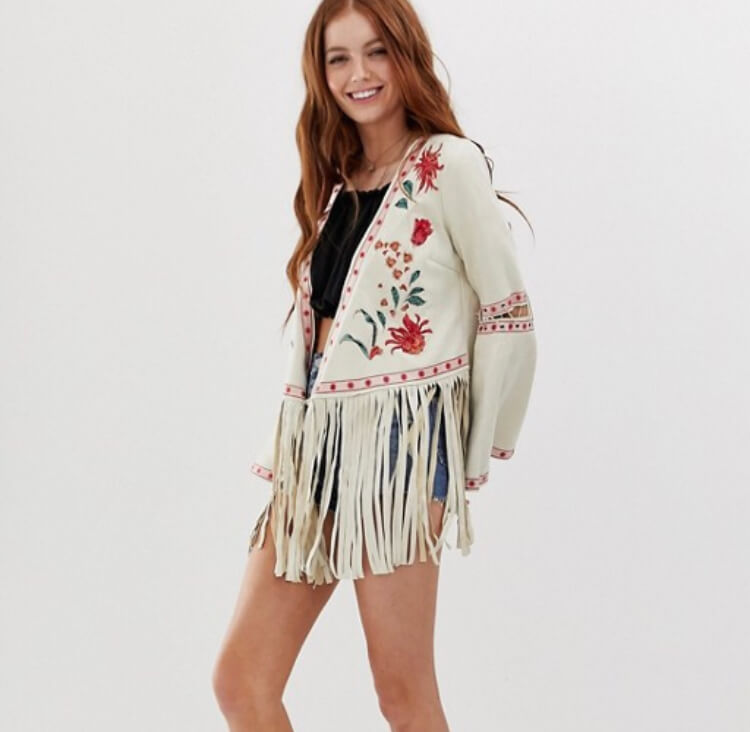Glamorous embroidered festival jacket with floral embroidery