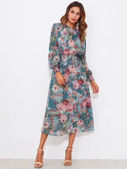 SheIn Smocked Trim Calico Print Midi Dress €24.50