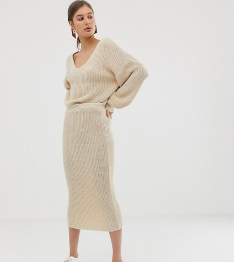 co-ordinating ribbed knit skirt and jumper.