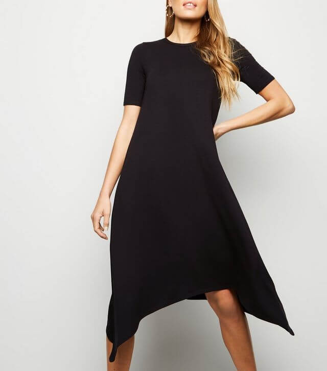 Black Hanky Hem Jersey Midi Dress