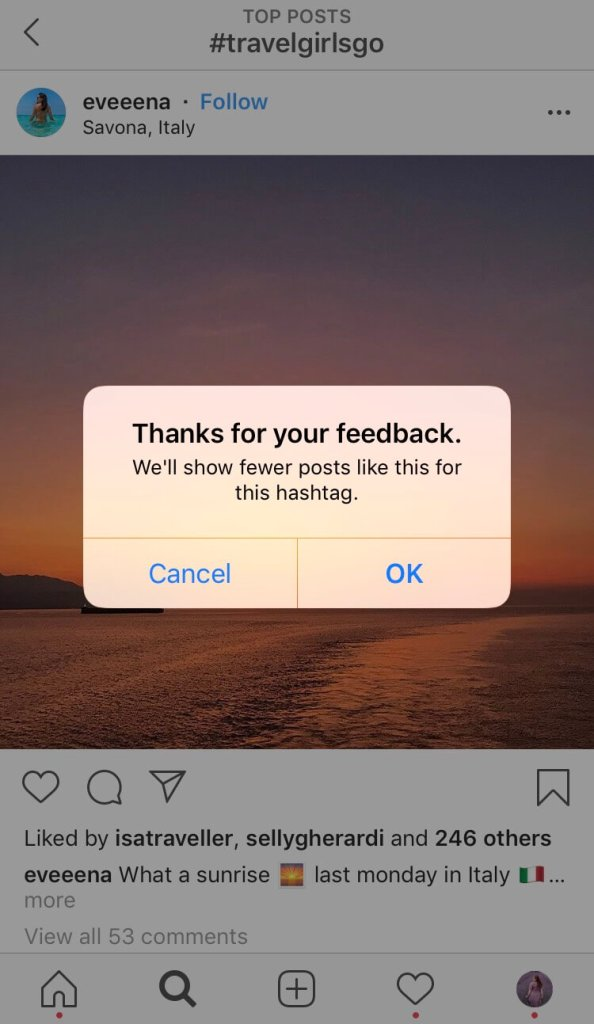 Image showing how to research travel hashtags for Instagram.