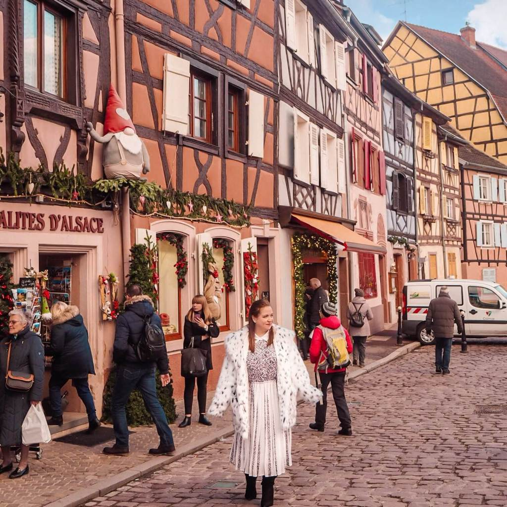 The colourful streets of Colmar at Christmas.