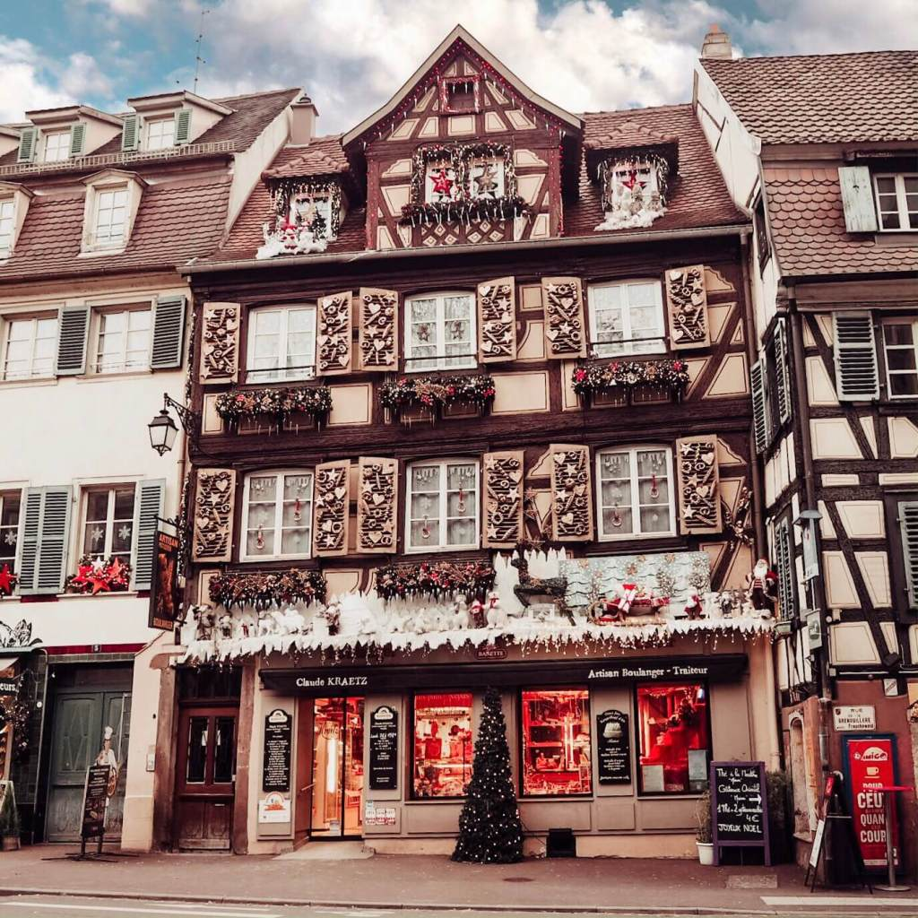 Buildings decorated for Christmas in Colmar Alsace France.