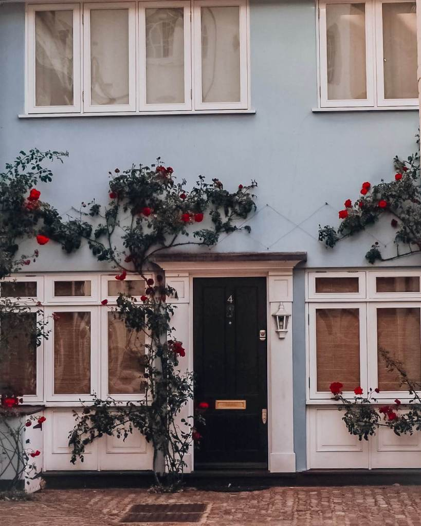 Blue Pastel House in Notting Hill covered in red climbing roses