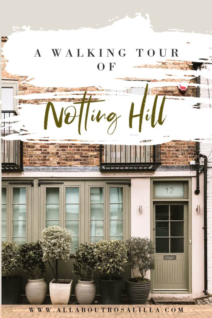 House in Notting Hill with text overlay