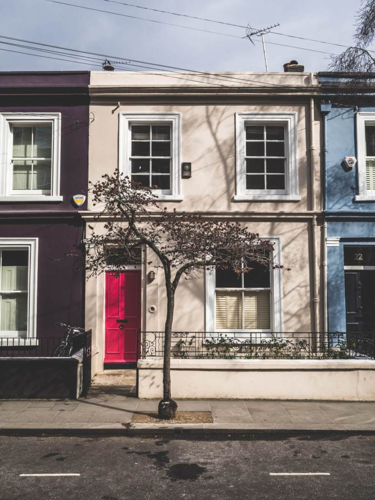 The pretty pastel houses of Notting Hill London.
