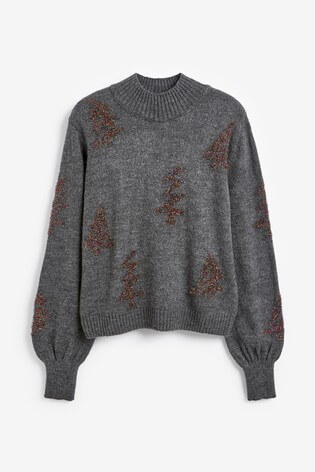 Next Charcoal Sparkle Tree Christmas Jumper