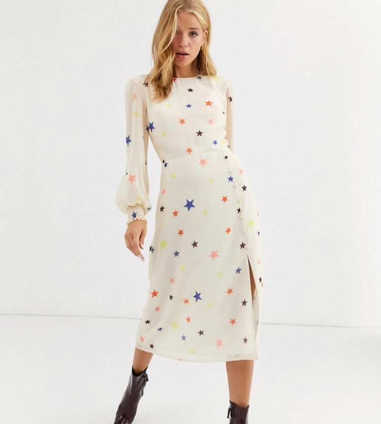 Nobody's Child midi dress with balloon sleeve in star print
