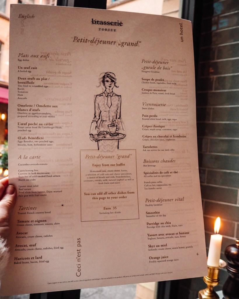 Breakfast menu at Tortue Hamburg