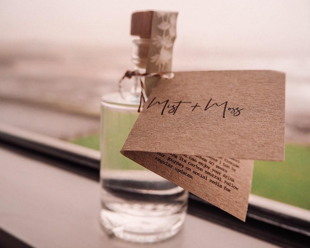 A bottle of Mist & Moss Gin