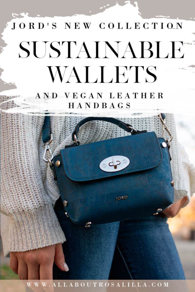 Peacock blue vegan leather handbag from Jord with text overlay