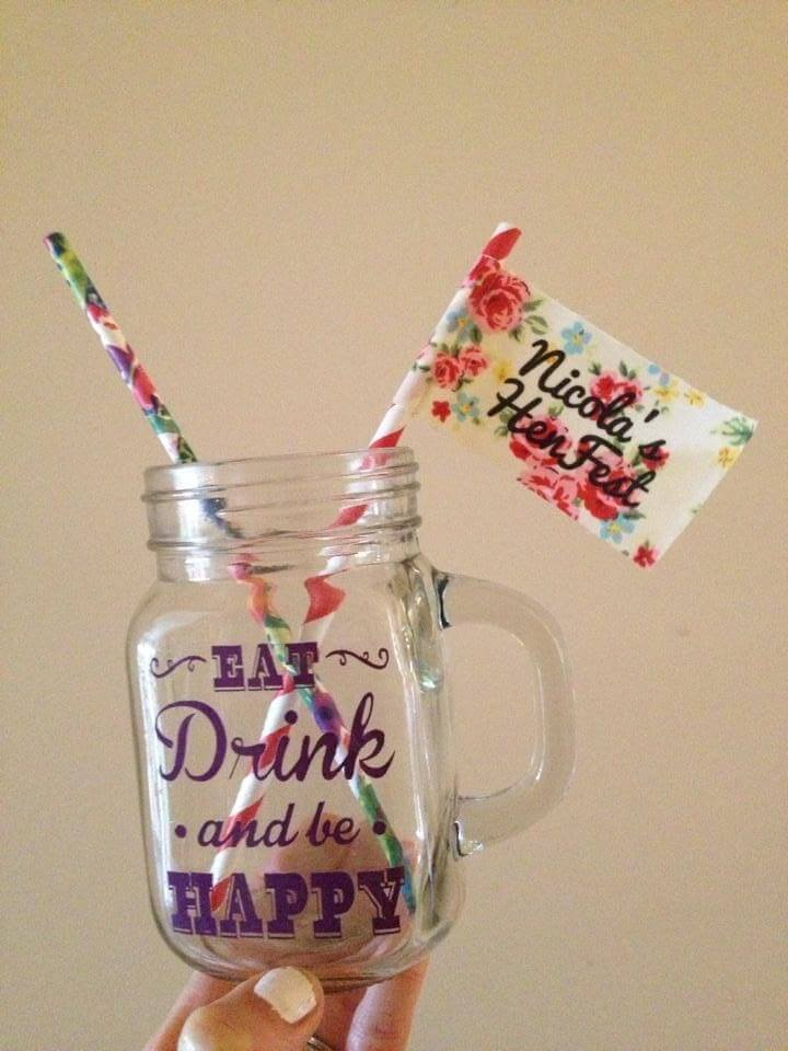 Festival cup with a floral straw