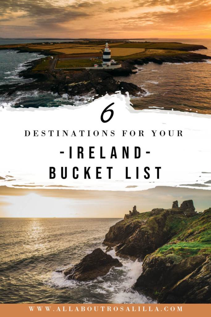 Image of Ireland with text overlay 6 destinations for your bucket list Ireland