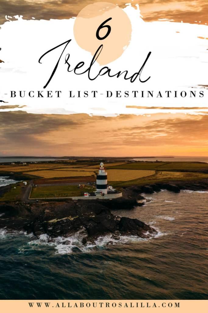 Image of Hook lighthouse with text overlay 6 Ireland Bucket list destinations
