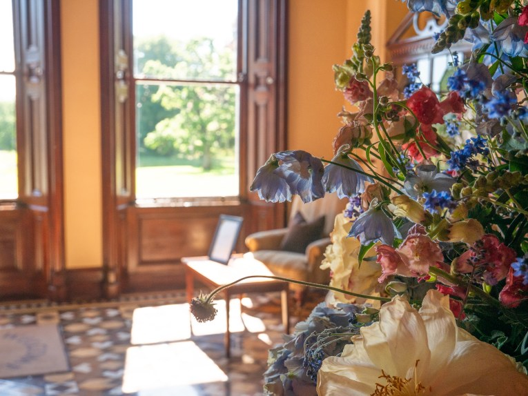 Flowers in the lobby of Mount Falcon hotel in Mayo Ireland