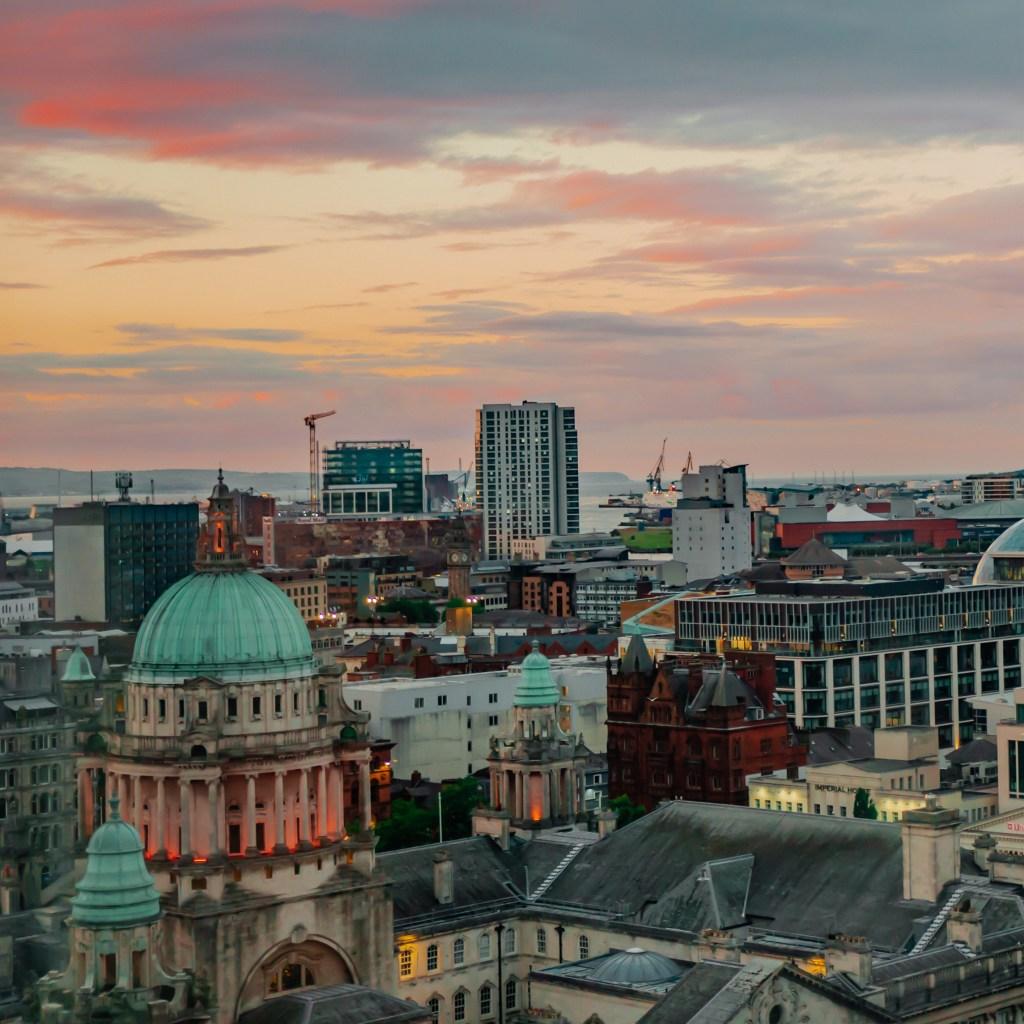 Belfast City Center at Sunset