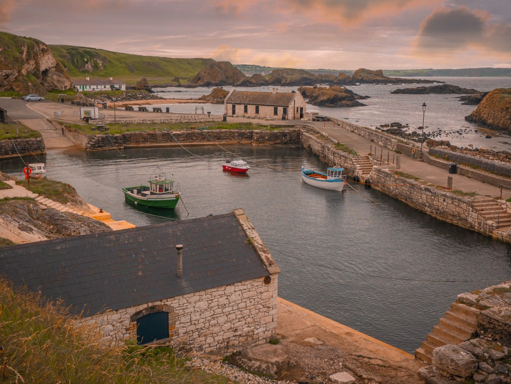 Ballintoy harbour in County Antrim at sunrise