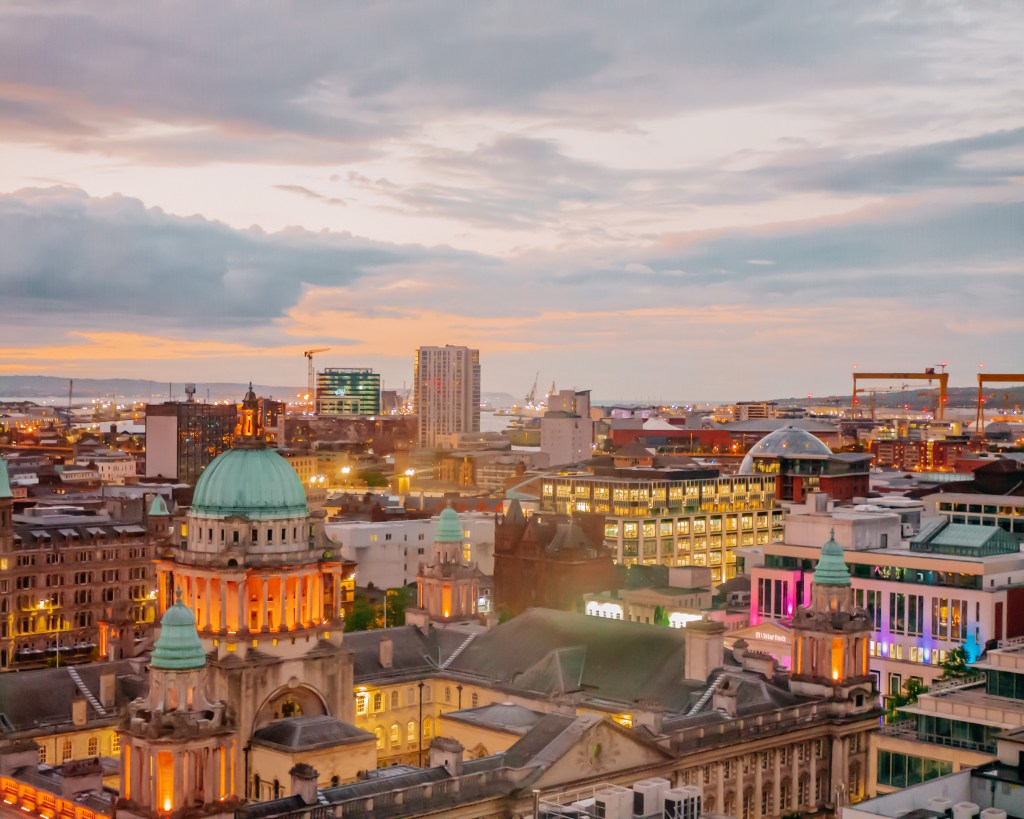 Aerial view of Belfast at night from the Grand Central Hotel