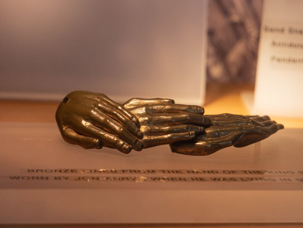 The hand of the kings jewellery piece from the game of thrones show on display at Steensons jewellers in Glenarm Northern Ireland