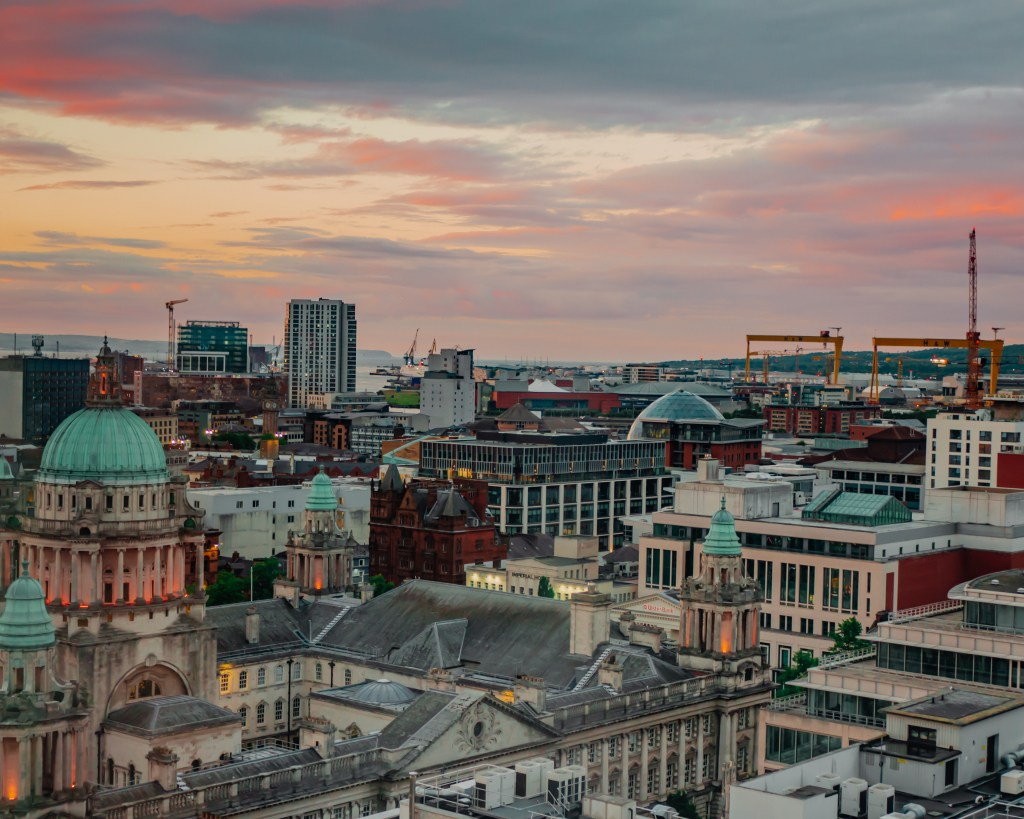 Aerial view of Belfast at Sunset