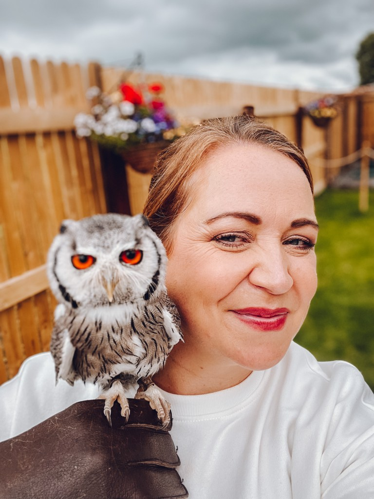 Woman getting an owl selfie with a south african white faced owl