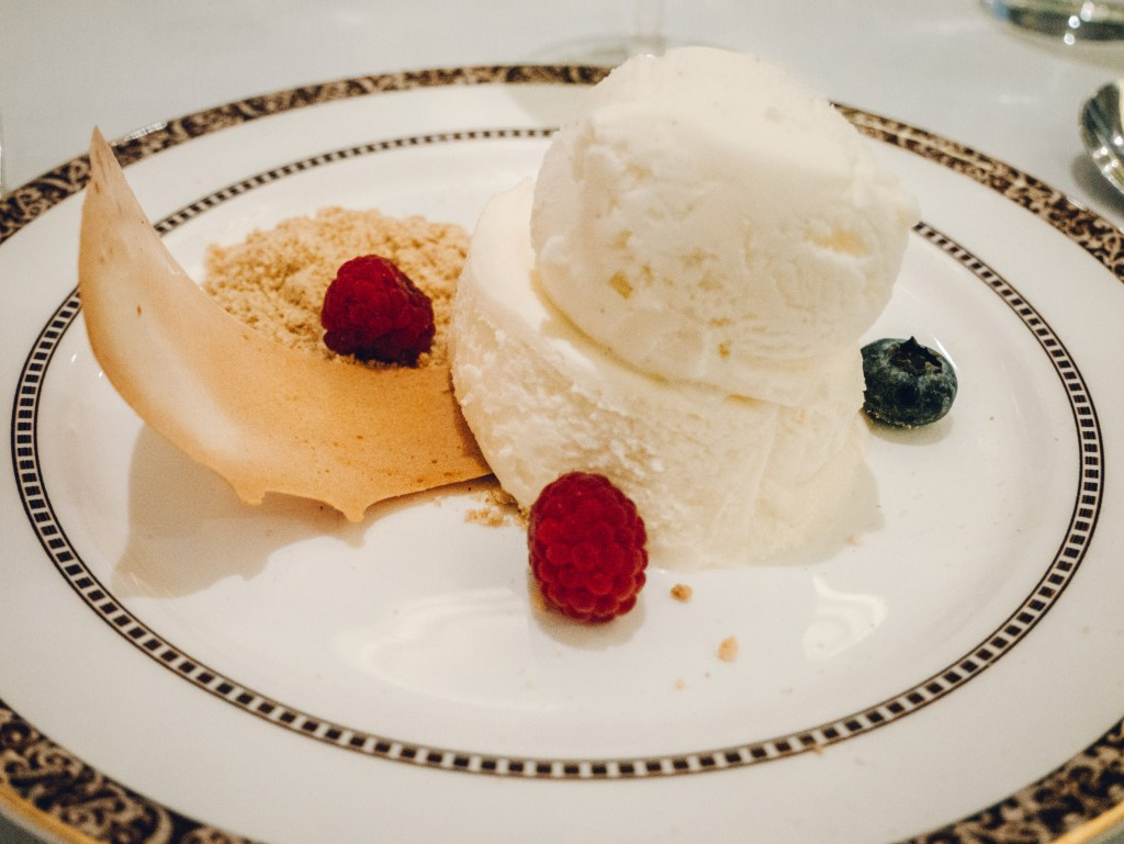 Plate of food during a fine dining experience at Vespers restaurant at the Culloden Estate and Spa