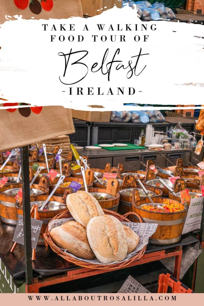 Image of a Belfast Food market with text overlay walking tour Belfast