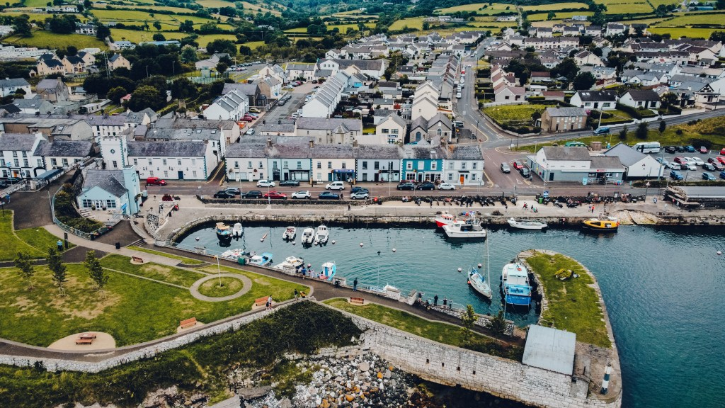 Aerial view of Carnlough Harbour which is a hidden gem in Antrim Northern Ireland