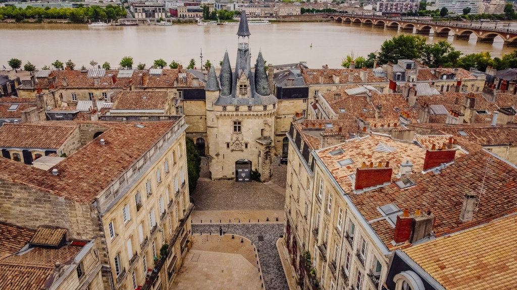 Aerial view of Bordeaux city in France