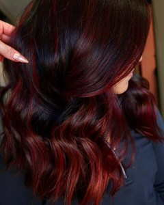 level 3 dark hair with red highlights