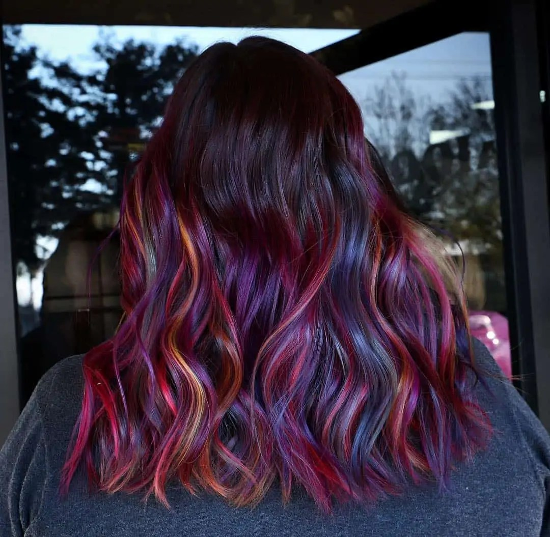 Multicolor And Red Highlights On Dark Hair All About The Gloss