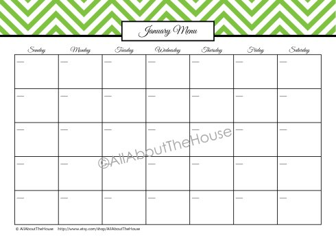 12 Monthly Meal Planners - Green