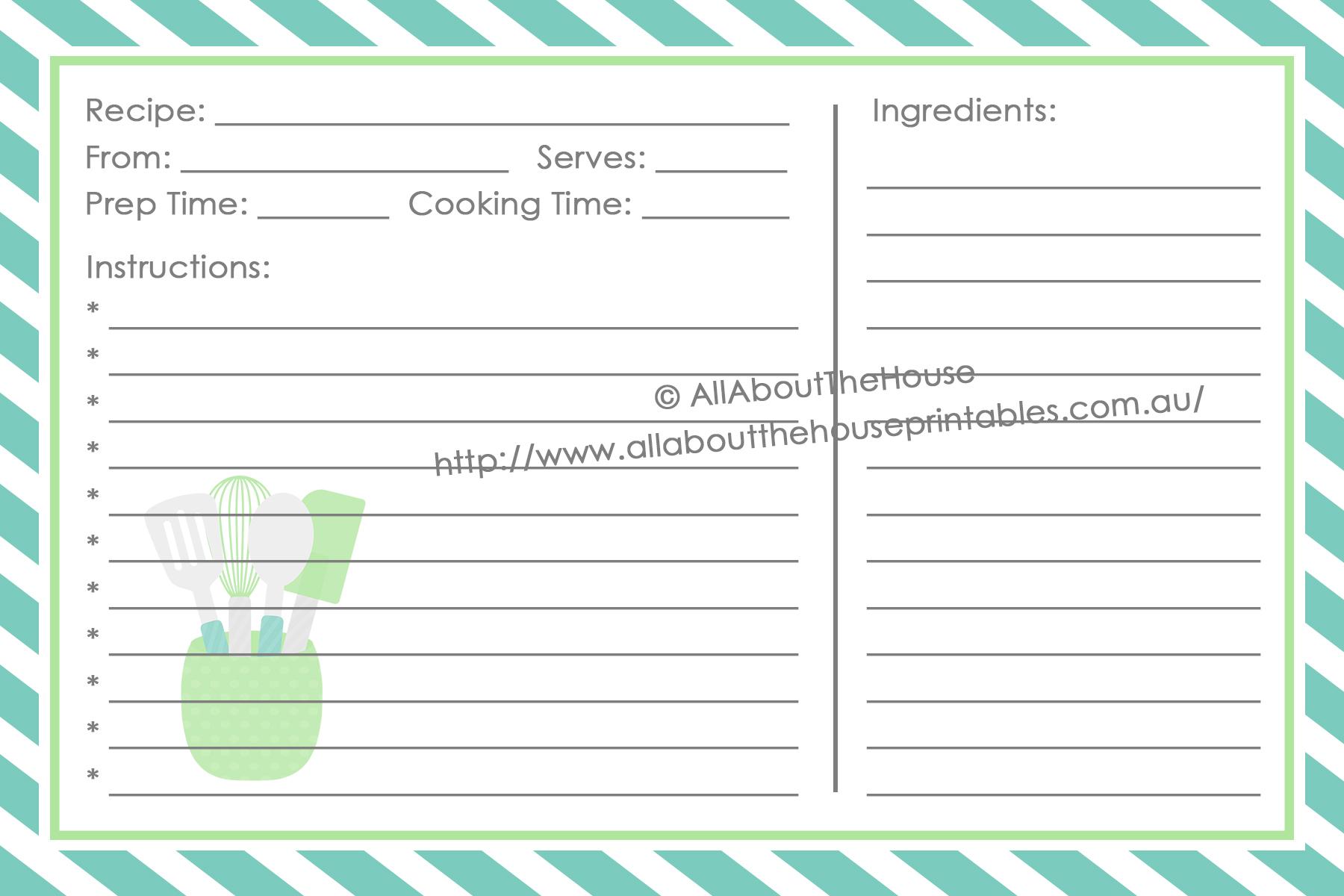 make your own personalised printable recipe binder