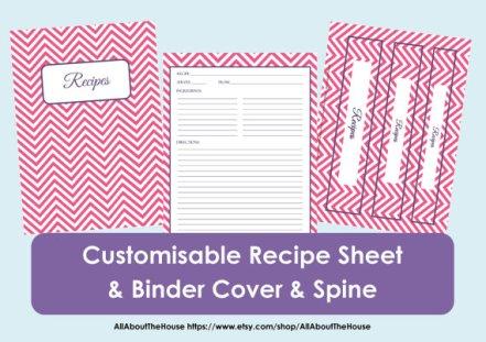 chevron recipe binder printables