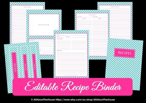Editable Recipe Binder Listing Photo