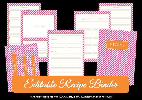 Editable Recipe Binder Preppy