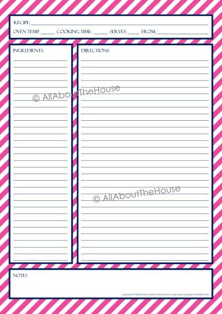 Stripe Recipe Sheet Style 6 - pink, 27
