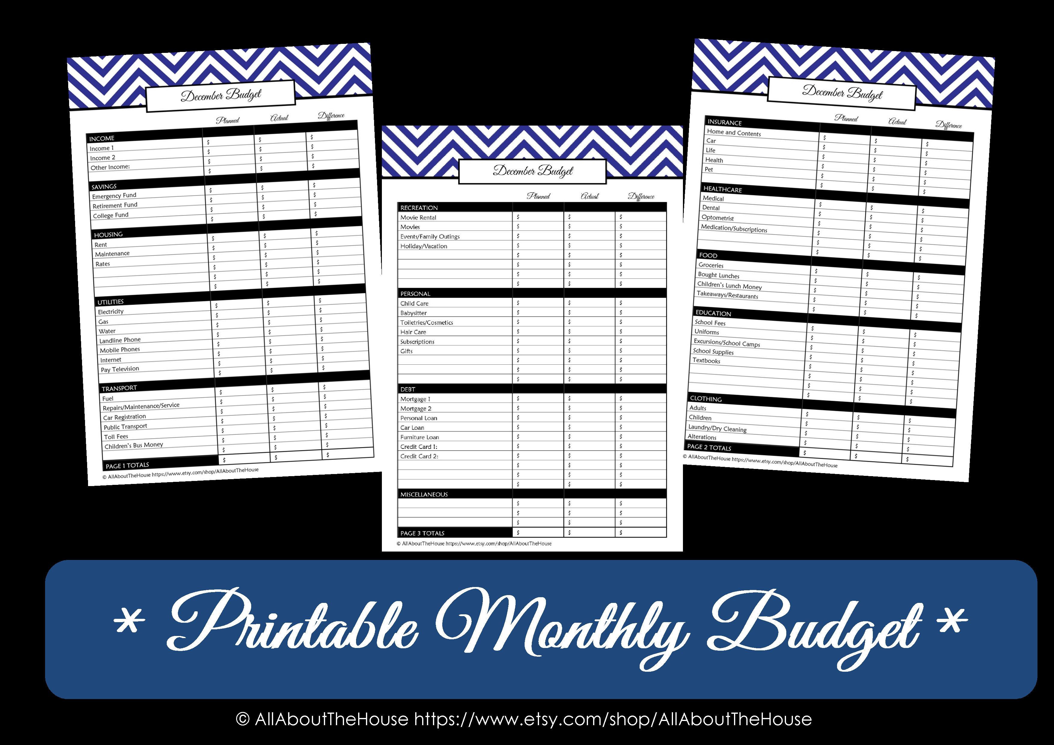 Chevron Finance Binder Set Household Binder Printables