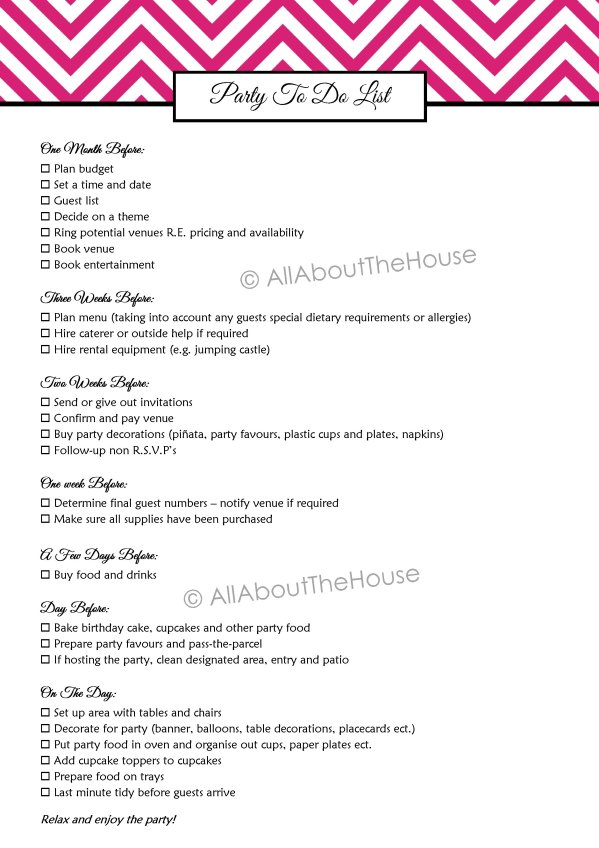 Party to Do List Printable