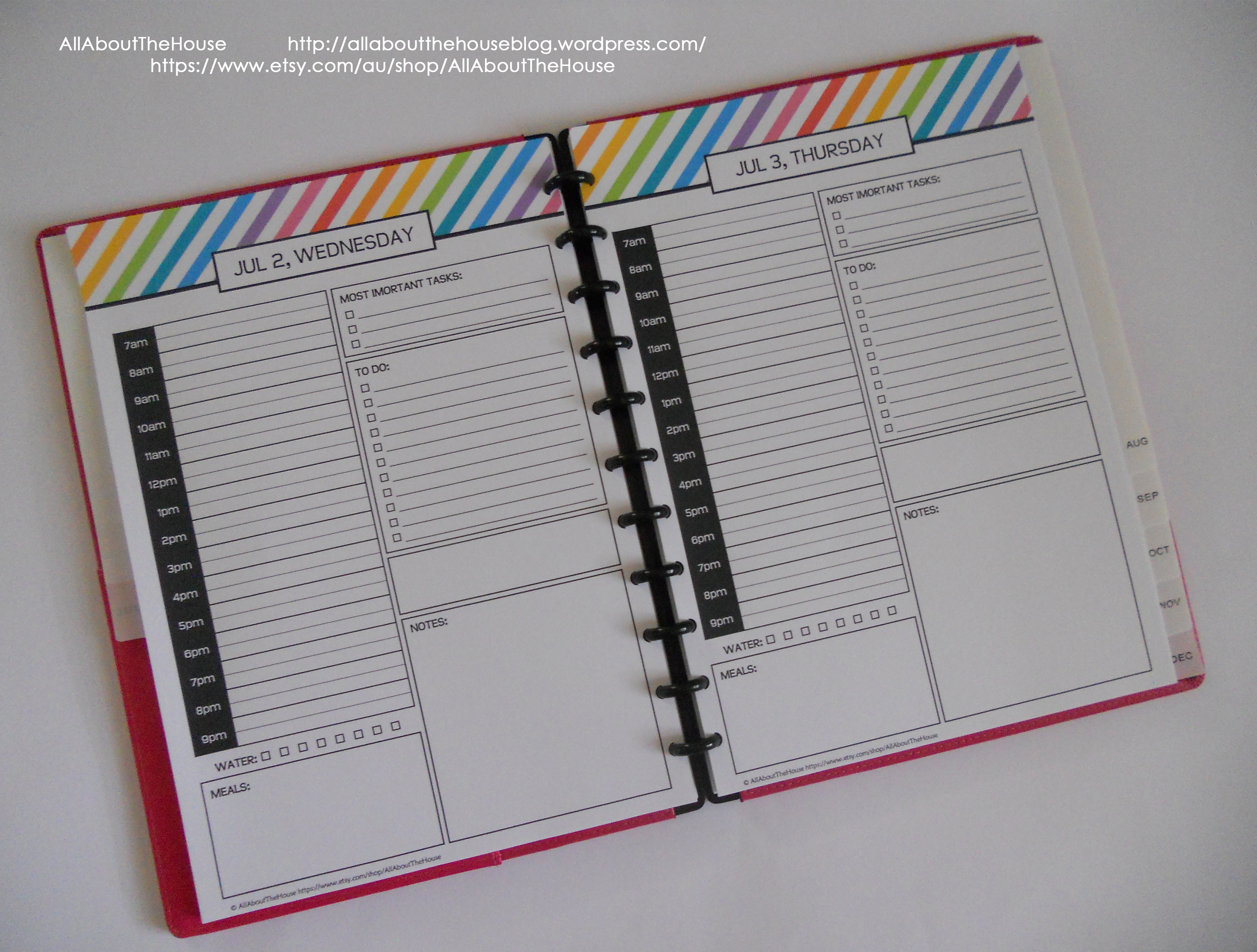 daily planner one page per day