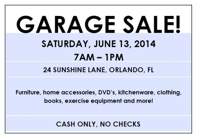 garage sale advertisement sample