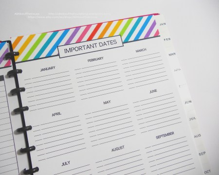important dates rainbow planner printable