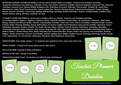 teacher planner binder dividers chevron printable