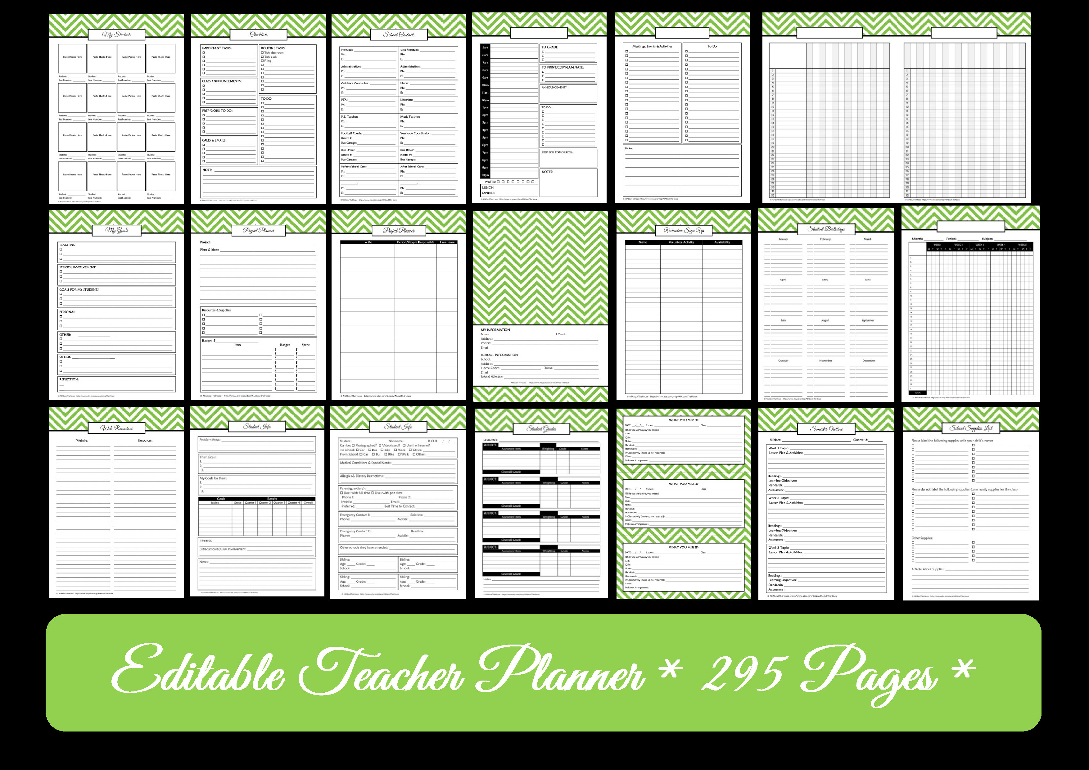 Editable chevron printable teacher planner for Field trip lesson plan template