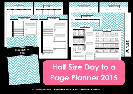 half size day to a page printable planner chevron 2014 2015 pdf