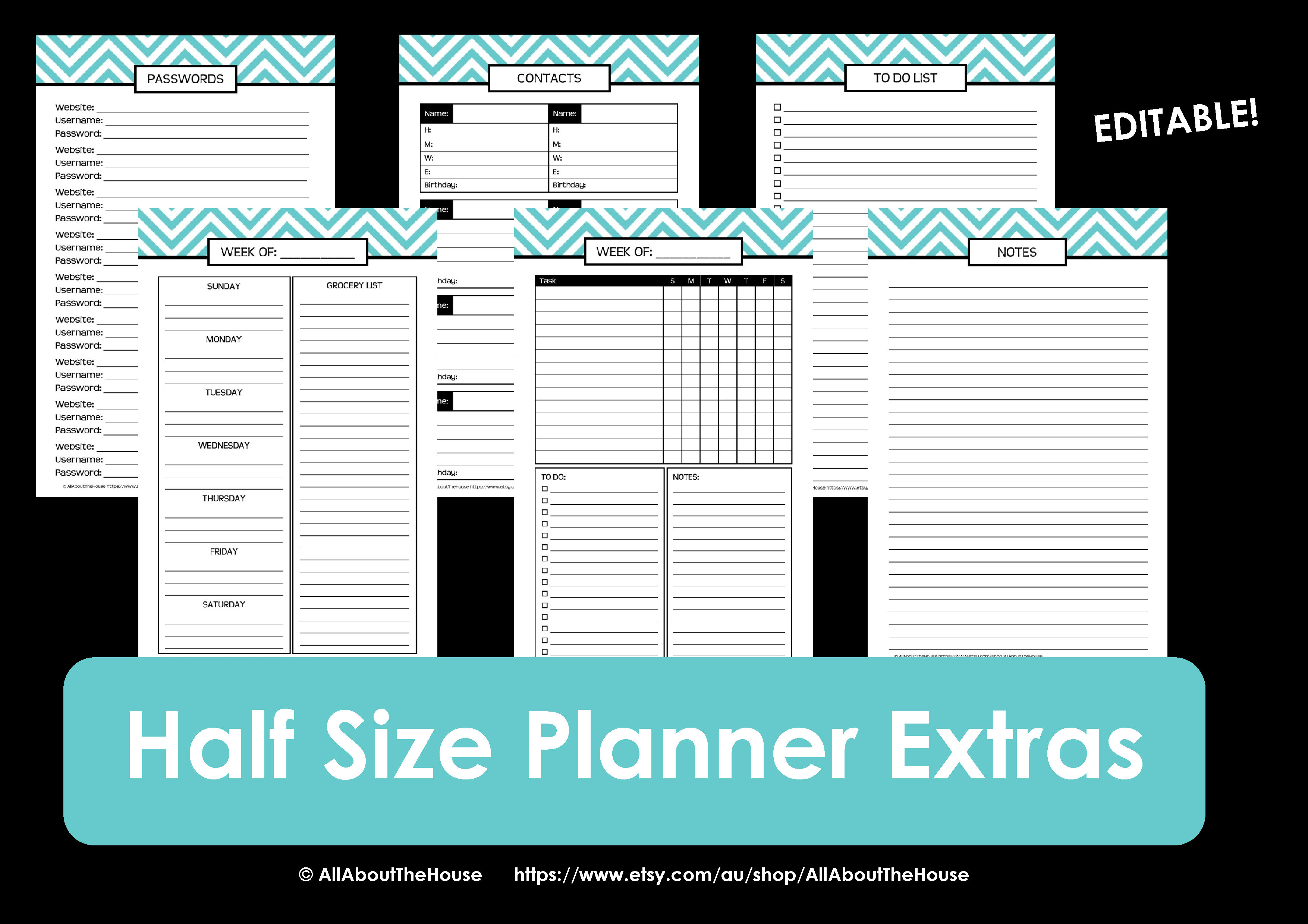 New half size printable planners for 2015 for Make a planner free
